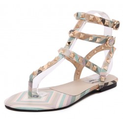 Blue Gold Square Studs T Strap Embellished Flats Sandals Shoes