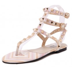 Pink Gold Square Studs T Strap Embellished Flats Sandals Shoes