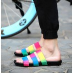 Rainbow Holographic Tri Rubber Bands Straps Mens Sandals