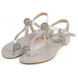 Silver Diamante Crystals Balls T Strap Fancy Bridal Flats Evening Sandals Shoes