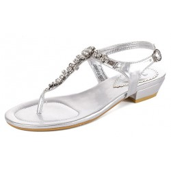 Silver Diamante Crystals Embellished T Strap Bridal Evening Sandals Shoes