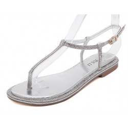Silver Diamante Crystals Embellished T Strap Fancy Bridal Evening Sandals Shoes