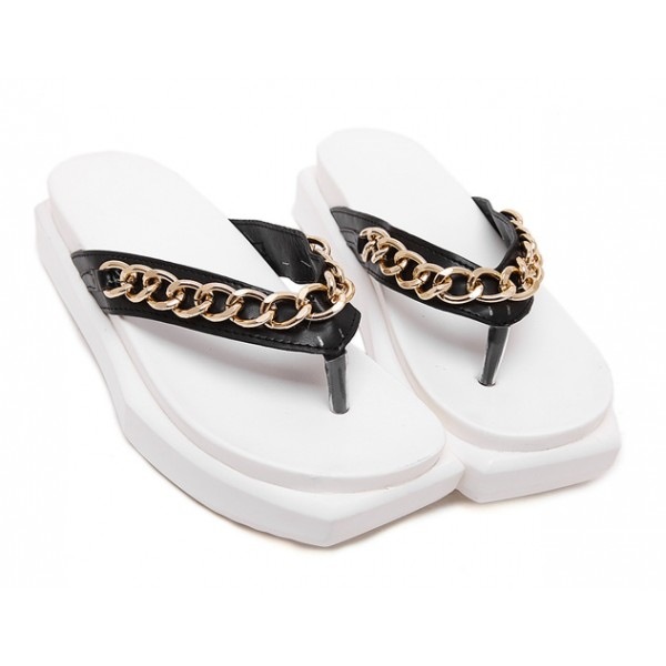 White Black Gold Chain Punk Rock Flip Flop Beach Platforms Sandals Shoes