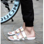 White Holographic Tri Straps Mens Gladiator Roman Sandals