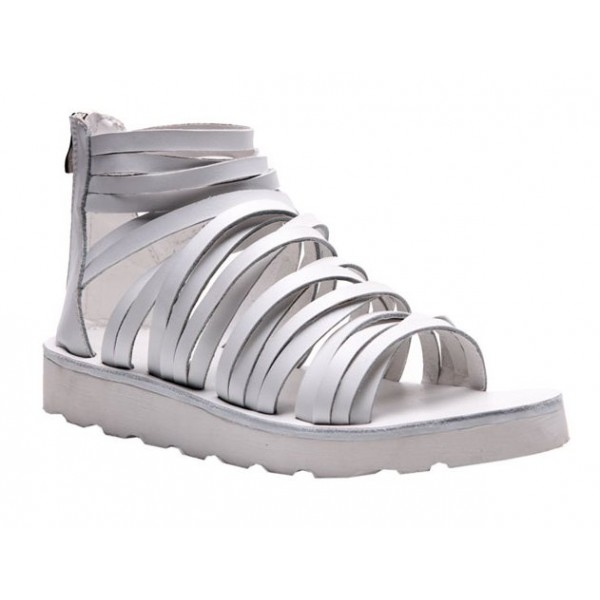 White Multiple Thin Straps Mens Designer Inspired Gladiator Roman Sandals