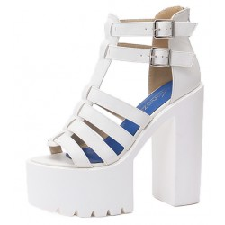 White T Strap Block Chunky Sole High Heels Gladiator Platforms Sandals Shoes