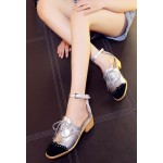 Silver Metallic Black Lace Up Ankle Straps Loafers Flats Oxfords Shoes