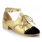 Gold Metallic Black Lace Up Ankle Straps Loafers Flats Oxfords Shoes