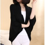 Black Long Sleeves Batwing Thin Cardigan Outer Coat Jacket Shawl
