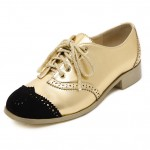 Gold Metallic Black Lace Up Loafers Flats Oxfords Dress Shoes