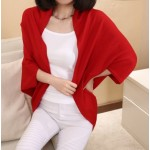 Red Long Sleeves Batwing Thin Cardigan Outer Coat Jacket Shawl