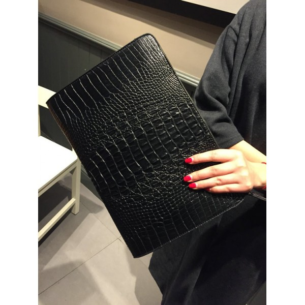 Black Crocodile Leather Punk Rock Oversized Envelope Clutch Bag Purse