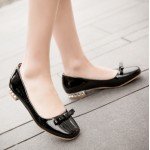 Black Bow Patent Leather Blunt Head Silver Heels Ballerina Ballet Flats Shoes
