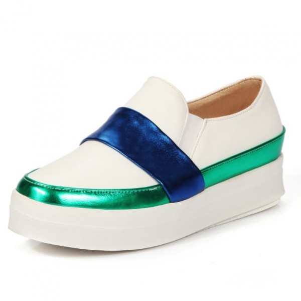 White Blue Platforms Sole Hidden Wedges Womens Sneakers Loafers Flats Shoes