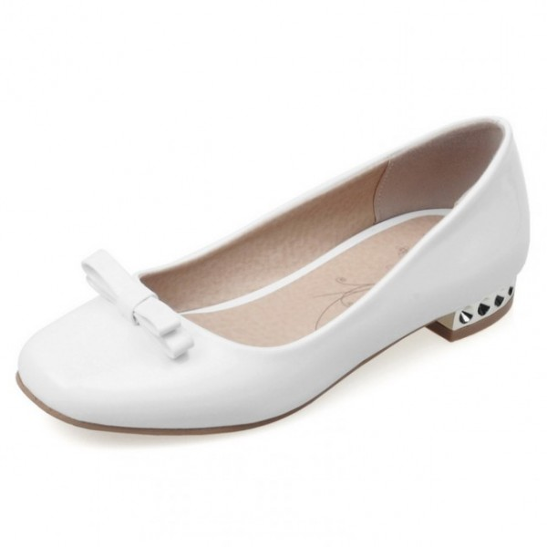 White Bow Patent Leather Blunt Head SIlver Heels Ballerina Ballet Flats Shoes