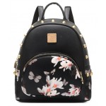 White Black Chinese Oriental Painting Gold Studs Gothic Punk Rock Backpack