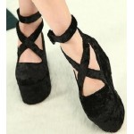 Black Velvet Suede Cross Straps Mary Jane Platforms Lolita Flats Shoes