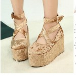 Khaki Velvet Suede Cross Straps Mary Jane Platforms Lolita Flats Shoes