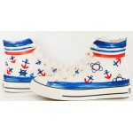White Blue Sailor Navy Anchors High Top Lace Up Sneakers Boots Shoes
