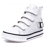 White Velcro Platforms Sole High Top Womens Sneakers Loafers Flats Shoes