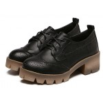 Black Baroque Lace Up Cleated Sole Heels Platforms Oxfords Shoes