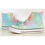 Blue Pink Pastel Color Galaxy Universe High Top Lace Up Sneakers Boots Shoes