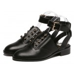 Black Metal Spikes Punk Rock Ankle Strap Oxfords Women Flats Shoes