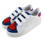 White Blue Red Heart Star Velcro Flats Sneakers Tennis Shoes