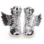 Silver Metallic Shiny Angel Wings Hidden Wedges High Top Womens Sneakers Shoes