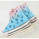 Blue Pink Navy Sailor Anchor Galaxy Universe High Top Lace Up Sneakers Boots Shoes