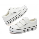 White Canvas Platforms Velcro Casual Sneakers Flats Loafers Shoes