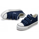 Blue Navy Canvas Platforms Velcro Casual Sneakers Flats Loafers Shoes