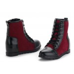 Burgundy Black Lace Up Suede Hidden Wedges Lace Up Sneakers Boots Shoes