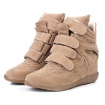 Khaki Suede High Top Velcro Tapes Hidden Wedges Sneakers Shoes
