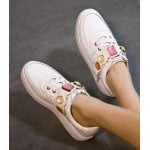 White Colorful Gemstones Platforms Sole Womens Sneakers Loafers Flats Shoes