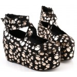 Black Silver Skulls Cross Straps Mary Jane Platforms Lolita Flats Shoes