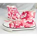 Pink Camouflage Miltary Army High Top Lace Up Sneakers Boots Shoes