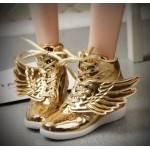 Gold Metallic Shiny Angel Wings Hidden Wedges High Top Womens Sneakers Shoes