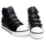 Black Velcro Platforms Sole High Top Womens Sneakers Loafers Flats Shoes