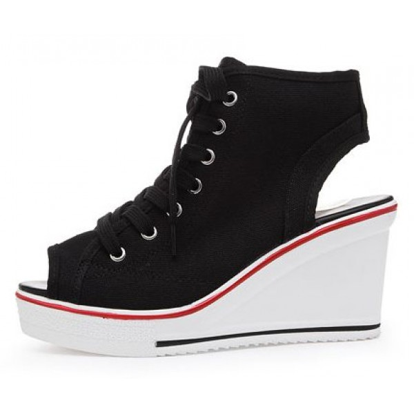Black Canvas Peeptoe Lace Up Platforms Wedges Sneakers Shoes
