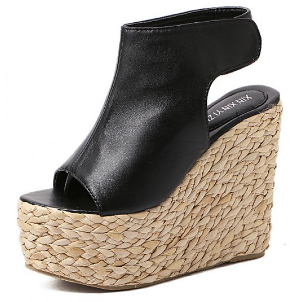 Black Peeptoe Braided Straw Knitted Slingback Platforms Wedges Sandals Shoes