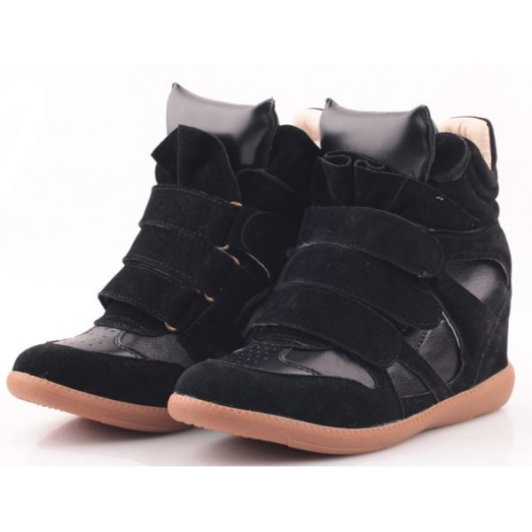 Black Suede High Top Velcro Tapes Hidden Wedges Sneakers Shoes