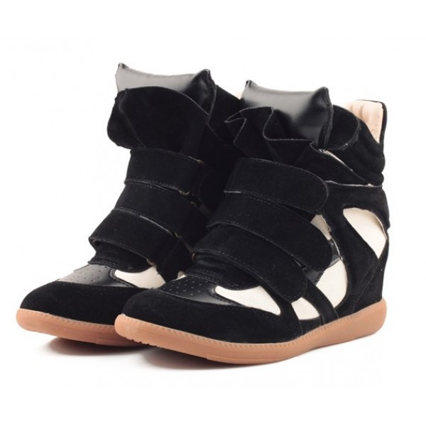 Black White Suede High Top Velcro Tapes Hidden Wedges Sneakers Shoes