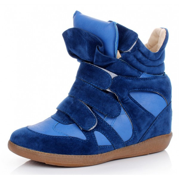 Blue High Top Velcro Tapes Hidden Wedges Sneakers Shoes