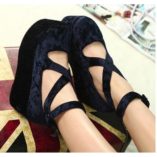 Blue Navy Velvet Suede Cross Straps Mary Jane Platforms Lolita Flats Shoes