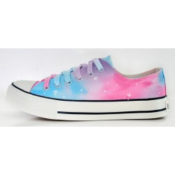 Blue Pink Pastel Color Galaxy Universe Lace Up Sneakers Flats Shoes