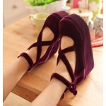 Burgundy Velvet Suede Cross Straps Mary Jane Platforms Lolita Flats Shoes