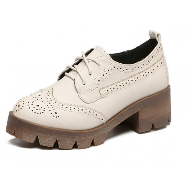 Cream Baroque Lace Up Cleated Sole Heels Platforms Oxfords Shoes