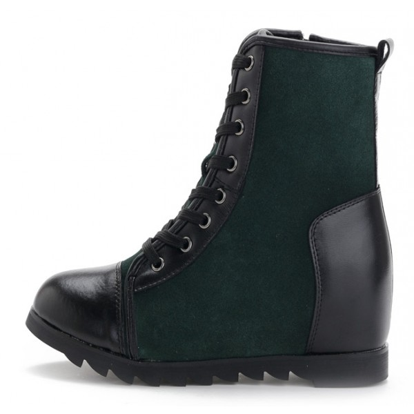Green Black Lace Up Suede Hidden Wedges Lace Up Sneakers Boots Shoes