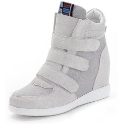 Grey Suede Velcro Platforms Sole High Top Hidden Wedges Womens Sneakers Loafers Shoes